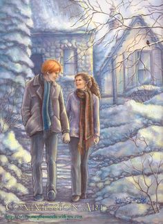 Harry Potter - Ron Weasley x Hermione Granger - Romione Mode Harry Potter, Harry Potter Ships, Harry Potter Anime, Harry Potter Universal, Harry Potter Artwork, Harry Potter Drawings, Plus Belle Citation, Desenhos Harry Potter, Yer A Wizard Harry