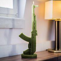 Świeca Kałasznikow oliwkowa zieleń, dodatki - świeczniki i świece