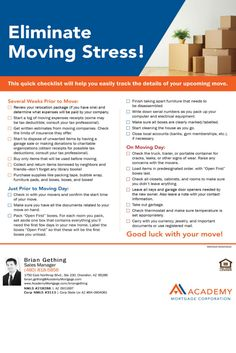 Moving Check List for Buyers. Loan Officer Brian Gething with Academy Mortgage Chandler Branch.