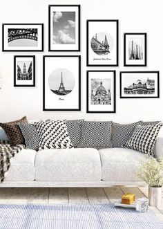 Black and white bedroom wall decor tips for creating a gorgeous black and white gallery wall . White Wall Decor, Black And White Wall Art, Room Wall Decor, Bedroom Wall, Black White, White Style, Paris Wall Decor, Bedroom Frames, Bedroom Photos