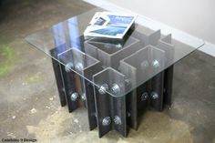 Modern Industrial Coffee/End table. Unique, one of a kind design. (mid century, steel, metal art, custom sizes)
