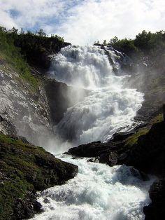 Kjosfossen waterfall, Flam railway, Norway.