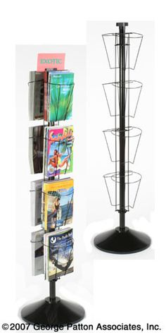 Black Wire Rotating Magazine Stand, Two-Sided, Eight-Pockets, Easy to Use, Traditional Style