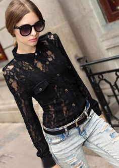 Morpheus Boutique  - Black Lace Floral Vintage Style Long Sleeve Shirt