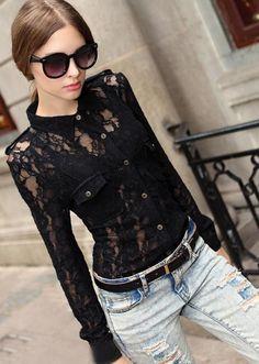 Morpheus Boutique  - Black Lace Floral Vintage Style Long Sleeve Shirt