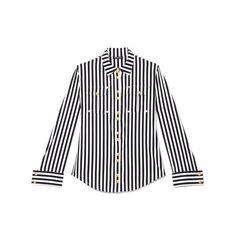 Balmain Striped Cotton Shirt (1.255 BRL) ❤ liked on Polyvore featuring tops, blouses, shirts, balmain, long sleeve shirts, long sleeve snap shirt, striped long sleeve shirt, striped blouse and long sleeve cotton shirts