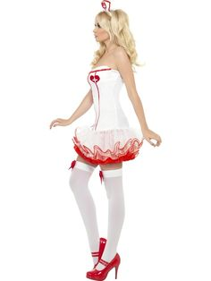 Fever Tutu Nurse Costume - white with red frills, this sexy nurses outfit will really thrill! Starting from £18.95, discounts available on bulk orders.