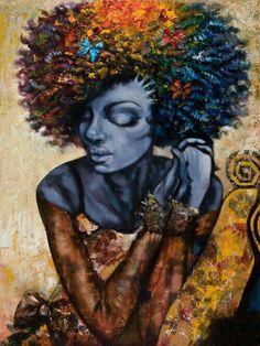Black art named Rainbow Jason Obrien Natural Hair Art, Natural Hair Styles, Natural Beauty, Natural Soul, African American Art, African Art, American Artists, Art Afro Au Naturel, Art Amour