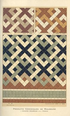Ceramic tile patterns from a 1928 catalog by Douzies-Maubeuge.