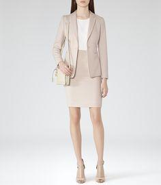 Reiss Daniella Women's Blush Melange Jacquard Weave Skirt