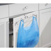 InterDesign Classico Over the Cabinet Plastic Bag Holder for Kitchen, Chrome Image 1 of 3