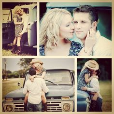 Engagement pictures :). Country Style - have him turned the other way in front of the truck