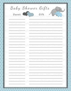 Baby Shower Gift List  Printable Baby by CelebrateLifeCrafts