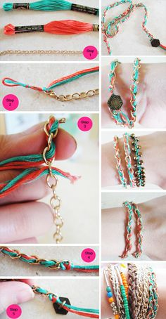Bohemian hippie jewelry friendship bracelet cuff in - coolest ever - but could n. diy jewelry bracelets Bohemian hippie jewelry friendship bracelet cuff in - coolest ever - but could n. Diy Bracelets Easy, Bracelet Crafts, Jewelry Crafts, Fabric Jewelry, Beaded Jewelry, Beaded Bracelets, Wrap Bracelets, Punk Jewelry, Skull Jewelry