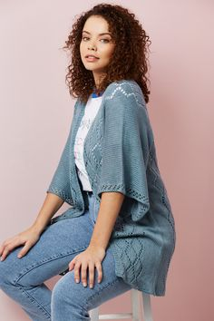 Freyr Cardigan, published in issue 119 of Knit Now magazine. Now Magazine, Cool Sketches, Summer Design, Oversized Cardigan, Summer Evening, Wardrobe Staples, Cool Designs, Kimono Top, Cover Up