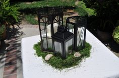 DIY Lantern Centerpieces - Your thoughts, please? :  wedding candles centerpiece lantern centerpieces lanterns moss outdoor reception rustic DSCIMGSa 006 (several other beautiful ideas on this page, too)