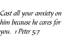 Cast all your anxiety on him because he cares for you. 1 Peter 5:7 - Wall and home scripture, lettering, quotes, images, stickers, decals, art, and more!:Amazon:Home Improvement
