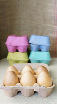 Natural Wood Eggs, Set of 6, Half Dozen Polished Eggs, Play Kitchen, Choose Carton Color (Pink, Teal, Natural, Green, Purple)