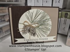 Stampin' Up!- 'A Christmas card created with 'Ornamental Pines'.  Love it!