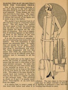 The Midvale Cottage Post: Home Sewing Tips from the 1920s - Slot Seams Create a Tailored Frock