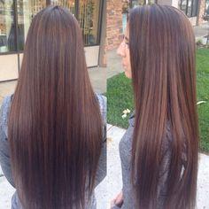 Caramel highlights on chocolate brown long hair