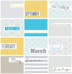 Free Project Life Month Filler Cards