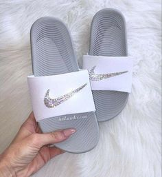 7cbba09e9 Swarovski Nike KAWA Slides Sandals White customized with Swarovski Crystals Nike  KAWA Slides White Flip Flops customized with Swarovski