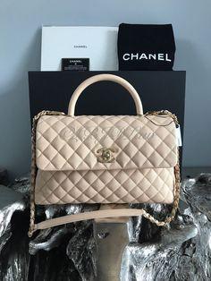 NWT CHANEL CoCo Handle 2017 MEDIUM Beige Camel Caviar DETACHABLE GOLD Chain  Bag  CHANEL  Satchel 77565abb54