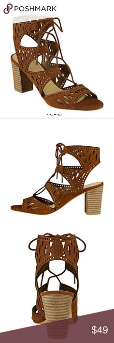 Marc Fisher Petite Light Brown Nubuck Sandals 2.7 in block stacked heel  Synthetic insole   Lace up closure  Slightly padded footbed  Imported  Stock photos of Cognac Sandal  These are Light Brown Nubuck Marc Fisher Shoes Sandals