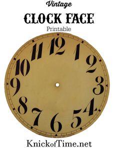 Vintage Clock Face Printable - Knick of Time Clock Face Printable, Printable Art, Free Printables, Paper Art, Paper Crafts, Diy Clock, Clock Ideas, Vintage Labels, Vintage Images