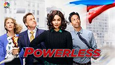 """POWERLESS """"Win, Luthor, Draw"""" When an alien attack damages the Gotham headquarters, Chairman West (guest star Adam West) delivers some unfortunate news to Van (Alan Tudyk) and Emily (Vanessa Hudgens). In an effort to save the company, Emily's efficiency may make everyone a target. Meanwhile, Jackie (Christina Kirk) gets a shocking surprise that will change her life. Danny Pudi and Ron Funches also star. Jennie Pierson recurs. (30 Min)"""