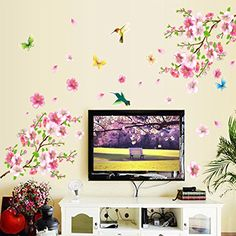 $3.98  - Wall Decal Beautiful Plum Blossom Flowers Brance Birds Butterflies Home Sticker Paper Removable Living Dinning Room Bedroom Kitchen Art Picture Murals DIY Stick Girls Boys kids Nursery Baby Playroom * Click image to review more details. (This is an affiliate link) #WallStickersMurals
