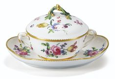A SÈVRES PORCELAIN BOWL, COVER AND TRAY, THE PORCELAIN 18TH CENTURY (REDECORATED DURING 19TH CENTURY)