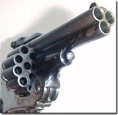 Antique Belgian 3-barrel revolver