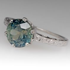 3 Carat Green Montana Sapphire Engagement Ring Solitaire