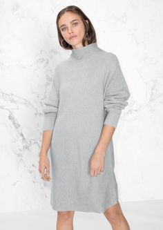 & Other Stories image 2 of Raised Neck Sweater Dress in Grey