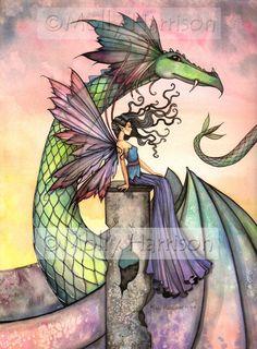 Fairy Dragon Fine Art Print by Molly Harrison by MollyHarrisonArt