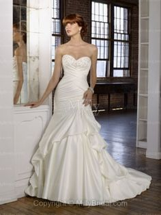 Trumpet/Mermaid Sweetheart Embroidery Satin Chapel Train Wedding Dress at Millybridal.com