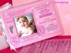 """Προσκλητήριο Βάπτισης για κορίτσι """" Η πρώτη μου ταυτότητα"""", με φωτογραφία του μπέμπη/μπέμπας. Διαθέσιμη και σε μπλε και σε μπλέ για αγόρι. Συμπεριλαμβάνεται το καρτελάκι για το ονόματα των καλεσμένων σας το οποιο ειναι δεμένο πάνω στην ταυτότητα ή φάκελος 160 γραμμαρίων για την ταυτότητα. Μεγάλη ποικιλία σε μπομπονιέρες, βιβλία ευχών, ρούχα βάπτισης, μαρτυρικά, λαδόπανα στο http://fux.gr/"""
