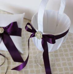 Wedding Flower Girl Basket White Plum Purple by LittleDivine