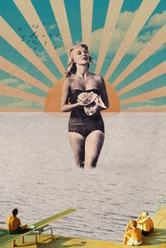 Swimsuit collage by unknown artist at Society6