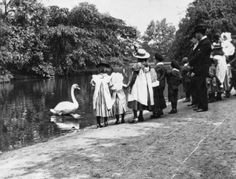 vintage everyday: Old Pictures of London in Victorian Era - Children feeding swans in Victoria Park, Hackney, London 1890 -