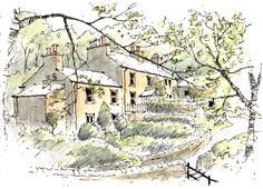 The village of Clapham set in the heart of the Yorkshire Dales ~ sketch ~ John Edwards