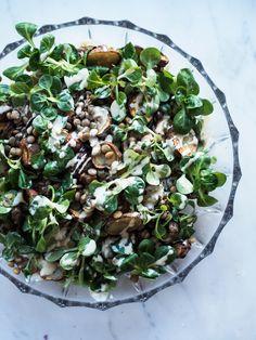 Lentil salad with roasted Jerusalem artichokes and tahini dressing // Vegan + Gluten free Vegetarian Recipes, Cooking Recipes, Healthy Recipes, Vegan Tahini Dressing, Vegan Fitness, Clean Eating, Healthy Eating, Seasonal Food, Side Recipes
