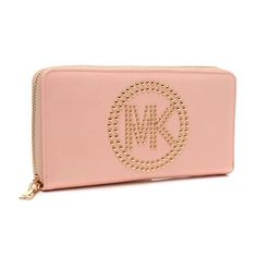 #Michael Kors Cheap Michael Kors Fulton Stud Logo Large Pink Wallets In Our Outlet Can Worth You To Purchase!