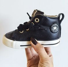 The Sweetest mini leather chucks! Trying to find shoes that will fit Will's ankle braces!