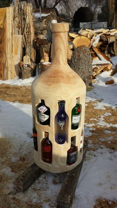 bottle from wood with woodworking plans! ↪️CLICK PICTURE↩️ for *Projects with step-by-step plans. Each of the projects are detailed enough to leave nothing to guesswork yet simple enough for beginners. *not every pic or post is in the wood plans package Easy Woodworking Projects, Woodworking Projects Diy, Woodworking Bench, Diy Wood Projects, Woodworking Shop, Wood Crafts, Woodworking Beginner, Woodworking Techniques, Unique Woodworking