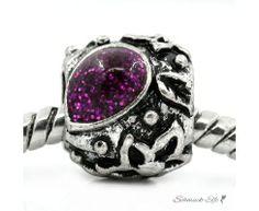 Perle Fantasy violett  Tibet Silber