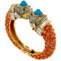 Kenneth Jay Lane Coral Pave Animal Head Bracelet ($230) ❤ liked on Polyvore featuring jewelry, bracelets, multicolour, bracelet bangle, kenneth jay lane jewelry, bracelets & bangles, coral bracelet and colorful bracelet