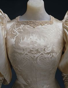 Wedding dress House of Worth (French, 1858–1956) Date: 1896 Culture: French Medium: silk, pearl